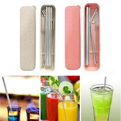 Reusable Bend Indent /Straight Stainless Steel Drinking Straws W/Cleaner Brush