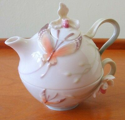 RARE FRANZ DELICATE TEAPOT PORCELEAN BUTTERFLY TEA for ONE SET