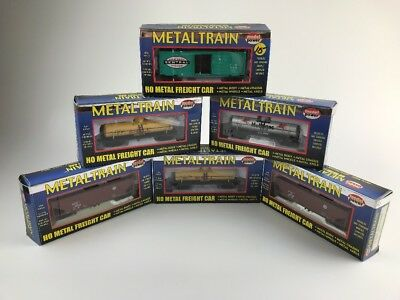 Lot Of 6 Model Power Metal Train HO Scale Cars In Original Boxes