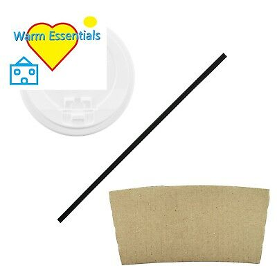 100 Pack 16 Oz Disposable Hot Paper Coffee Cups Lids Sleeves table