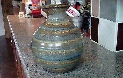 Attractive Vintage Blue and Green Stripped  Studio Pottery Vase marker unknown
