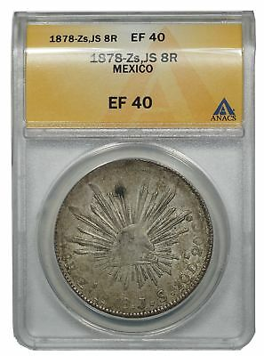 1878 MX Mexico Silver 8 Reales, Zs Js, 8R EF-40 ANACS