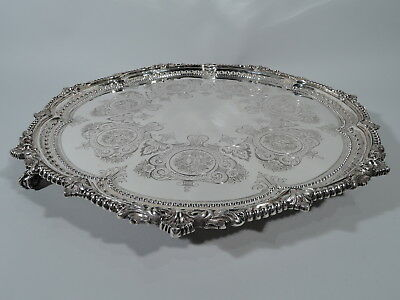 Victorian Salver - Large Fancy Tray - English Sterling Silver - Martin Hall 1891