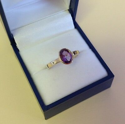 Solid Hallmarked 9k Yellow Gold Bezel Set Amethyst Ring size O