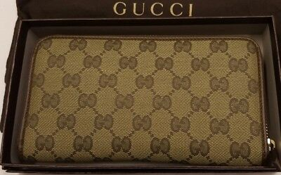 c947d37114e GUCCI 332747 FULL Zip Folded Wallet Gg dollar Calf Beige New In Box ...