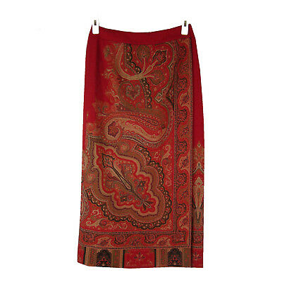 TALBOTS Wrap Skirt 4P Fine Wool Red Asian Paisley Scarf Print Straight Midi
