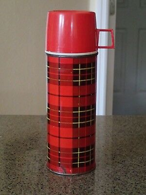 "Vintage Thermos Bottle #2242 1973 King-Seeley Red Plaid 9.5"" tall"