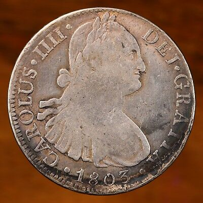 Raw 1803 Mo FT Mexico 8R Circulated Mexican 8 Reales Silver Coin