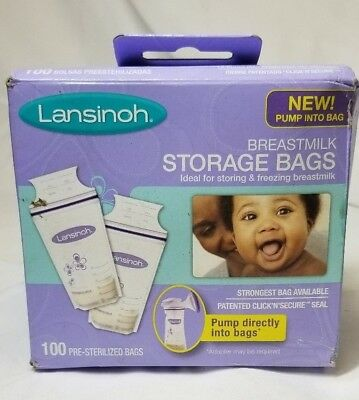 Lansinoh Breastmilk Breast Pump Storage Bags 100 pre-sterilized bags. BPA free