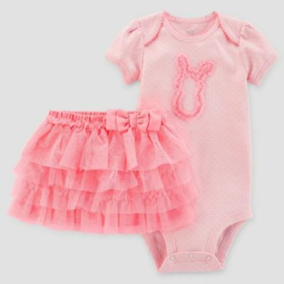 12M Just One You Carter's Easter Outfit bodysuit bright pink tutu dress up bunny