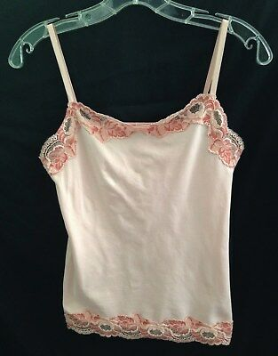 Ann Taylor Pink Lace Trimmed Stretch Camisole - Size Small   New With Tag!