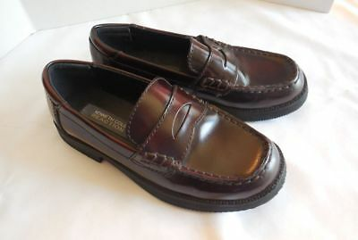 Kenneth Cole Reaction Boys Dark Burgundy Penny Loafer Leather Shoes Sz 13 M