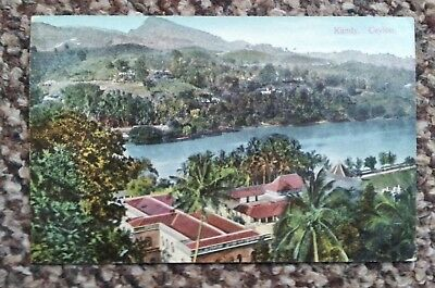 EARLY 20th CENTURY 1900-1910 COLOUR SKEEN & Co POSTCARD LAKE KANDY, BUND, CEYLON