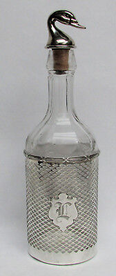 "Vintage Mayo & Co Chicago Sterling Silver & Crystal Duck Decoy Top 12"" Decanter"