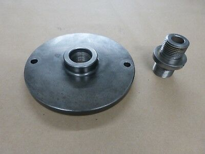 "8 Inch Diameter Lathe Adapter Plate, for 1 1/2""-8TPI spindles, w/ male adapter"