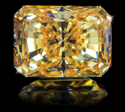 16 ct Stunning Emerald Radiant Canary Vintage Top CZ Moissanite Simulant 18 x 13