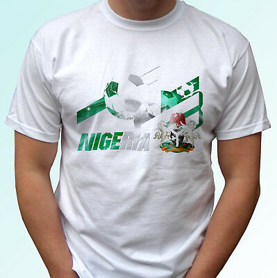 6a538c658a2 Nigeria football flag white t shirt soccer tag world cup top tee all sizes