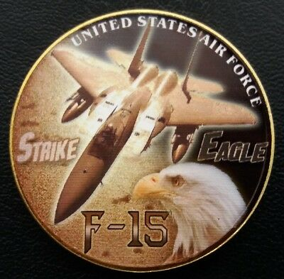 F-15 STRIKE EAGLE USAF Challenge Coin FREE COIN STAND