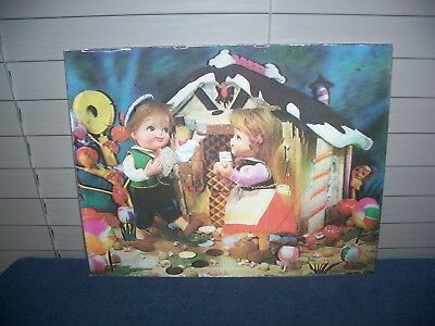 "Vintage Hansel Gretel Lenticular 3-D Photo Picture Vari Vue Hologram 13"" x 10"""