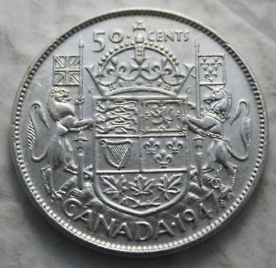 Canada 1947 Maple Leaf Silver 50 Cents, Nice Grade, Old Date KGVI