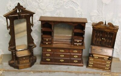 Vintage 1:12 Dollhouse Wooden Dresser With Hutch~Drop Front Desk~Hall Tree  *1