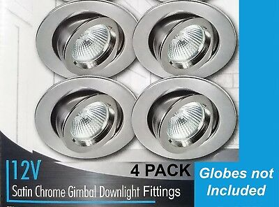 4 x Satin Chrome Gimbal Downlight Fittings 12V MR16 Low Voltage - 90mm Gimble