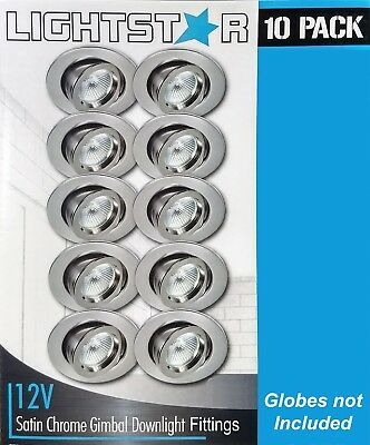 10 x Satin Chrome Gimbal Downlight Fittings 12V MR16 Low Voltage - 90mm Gimble