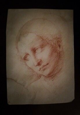 Old Italian Master RARE Original Drawing Brown/Red Chalk on Laid paper