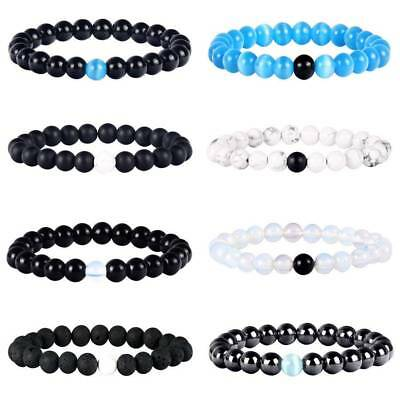 1pc/2pcs Couple His and Hers Distance Bracelet Handmade Lava Opalite Stone Beads