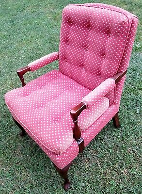 Vintage Harden Arm Chair Tufted Cabriole Queen Anne Colonial Americana Made USA
