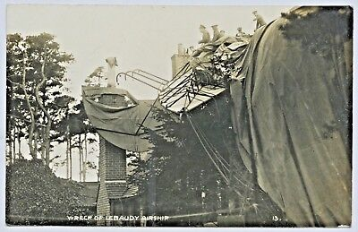 1911 Rp Npu Postcard Wreck Lebaudy Airship 'morning Post' Farnborough Uk K25