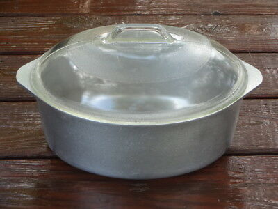 Vintage Club Hammercraft Aluminum Cookware - 8 Quart Oval Roaster W/ A Glass Lid