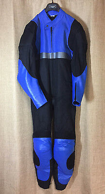 Leather/Textile One-Piece Motorcycle Suit, sz 42