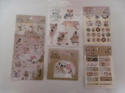 Stickes 5 types set of Shiba Inu MARU Made in Japan seal