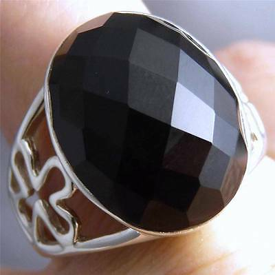 XL STATEMENT Ring Gemstone US 7.5 SILVERSARI Solid 925 Stg Silver & BLACK ONYX