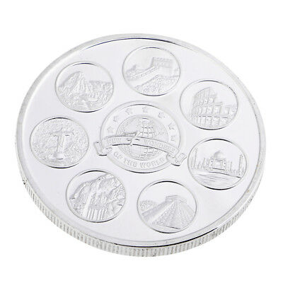 MagiDeal Silver Plated New Seven Wonders of the World Commemorative Coin Toy