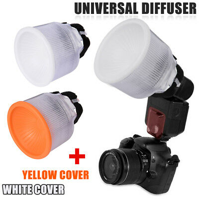 Universal Lambency Flash Diffuser Softbox Reflector White/Yellow Dome Cover Set