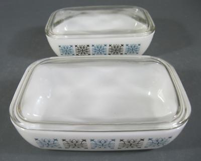 Retro/vintage 60s-70s pyrex milk glass mini lidded casserole disx x 2 (set 1)