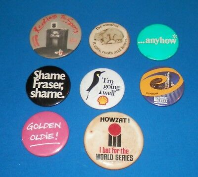 Lot of 8 Different Mostly Vintage Tin Badges - Shell, Winfield, Cricket, Music