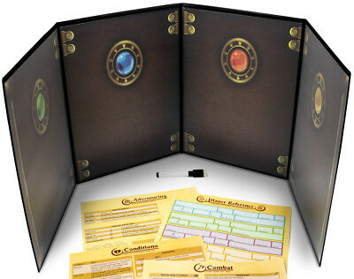 The Master's Tome Black 4-Panel Customizable GM Screen with Free Inserts