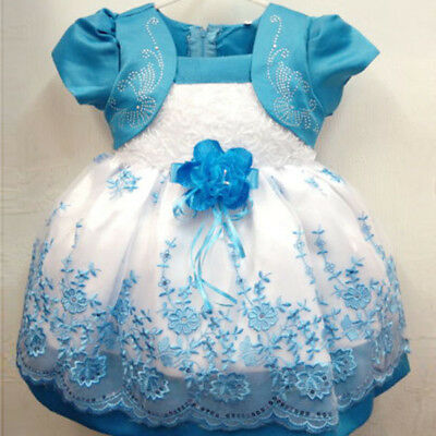 Girls Dress Floral Chiffon Dress Costume Princess Party Bubble Dresses Size 1-4Y