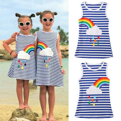 USA Kids Baby Girls Rainbow Party Pageant Princess Dress Sundress Clothes Casual