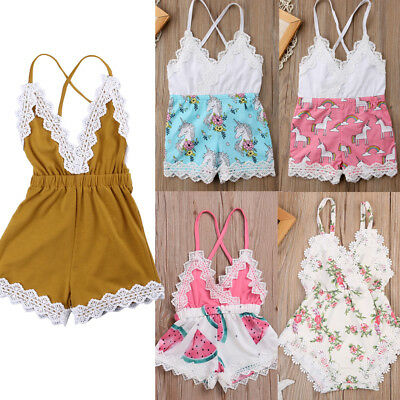 c78717beb US CANIS NEWBORN Baby Girl Lace Romper Jumpsuit Bodysuit Outfits Summer  Clothes