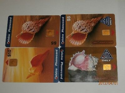 4x TELSTRA SHELL PHONECARDS INCLUDING RARE REPLACEMENT $5 & $10 CARDS- FREE POST
