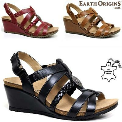 Womens Ladies Leather Wedge Summer Beach Strappy Comfort Sandles Shoes Sizes