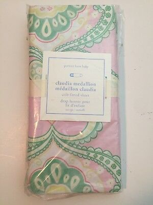 pottery barn baby claudia medallion crib fitted sheet pink green yellow Cotton