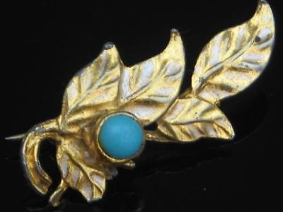 Vintage Gold Plated Cold Painted Enamel And Turquoise Glass Set Leaf Brooch