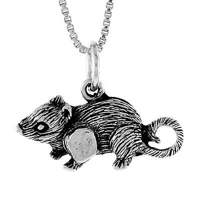 """Sterling Silver RAT, MOUSE Pendant / Charm, 18"""" Italian Box Chain"""