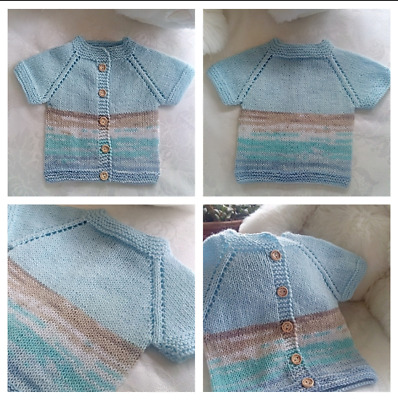 Hand knitted baby multicolour sweater 0-3 months handwashable unisex boys/girls