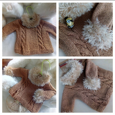 Hand Knitted cute baby blouse 0-3 months Handwashable unisex boys/girls